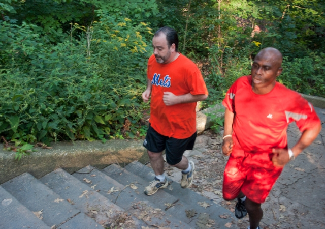 Sprinting up stairs, 5 times